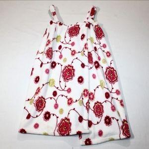 (OS) Floral Velcro Fuzzy Wrap Towel w/ Straps